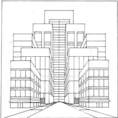 City. 1 point perspective. Colorists, feel free to color the line art, and link back to me!
