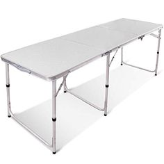 Redcamp Aluminum Folding Table 3 Fold Adjustable Height Portable Table For Camping Picnic Outdoor White 71 White Plastic Table, Plastic Tables, Folding Camping Table, Camping Chairs, Aluminum Folding Table, Tent Cot, Desktop Design, Cool Tents, Portable Table