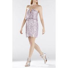 Bcbg Maxazria Kate Scallop Hem Sequin Strapless Dress ($161) ❤ liked on Polyvore featuring dresses, purple, v neck lace dress, purple floral dress, sequin dresses, lace dress and purple dress