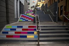 clever and gorgeous, Magda Sayeg's knit graffiti on the steps of Sussex Lane