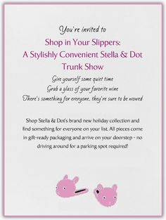 Hot an ON-LINE trunk show today!! My last on-line hostess earned over $ 200 in free jewelry plus more at half price, and who could say no to such a cute invitation ;0) www.stelladot.com/csinclair