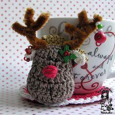 Crochet reindeer coaster  Christmas crochet pattern  by VendulkaM / CROCHET pattern