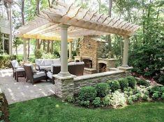 21 Handsome Diy Pergola Design Ideas - Page 17 of 41 Backyard Garden Landscape, Backyard Patio Designs, Backyard Pergola, Pergola Designs, Pergola Plans, Backyard Landscaping, Landscaping Design, Backyard Ideas, Pergola Kits