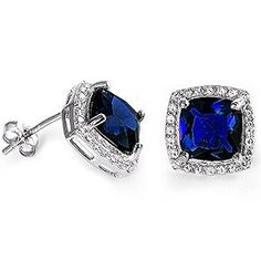 Cushion Cut Blue Sapphire & Cz .925 Sterling Silver Earrings available at joyfulcrown.com
