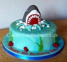 Shark cake - Cake by Cakeadoodledee Ocean Birthday Cakes, 8th Birthday Cake, Ocean Cakes, Birthday Parties, Megalodon, Fisherman Cake, Cupcakes For Boys, Hai, Occasion Cakes