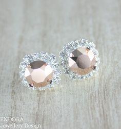 Rose gold earringSwarovski rose gold crystal by EndoraJewellery