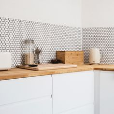Create a stylish new splashback with our selection of kitchen wall tiles. Choose from classic metro tiles, colourful mosaics, wood and stone effects, and more! White Mosaic Tiles, Hexagon Mosaic Tile, Kitchen Splashback Tiles, Splashback Ideas, Up House, Kitchen Decor, Rustic Kitchen, Diy Kitchen, Kitchen Remodel