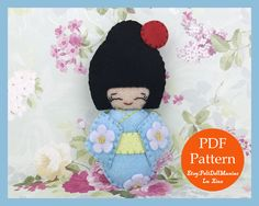 A personal favorite from my Etsy shop https://www.etsy.com/listing/514316790/japanese-kokeshi-doll-blue-felt-doll-pdf