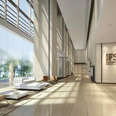 commercial office lobby interior design view 01 with stone