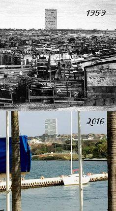 A Vila Amaury foi um acampamento provisório feito para abrigar as famílias dos candangos que construíam o Congresso Nacional e os ministérios. Quando o Lago Paranoá se encheu, o lugar foi totalmente submerso e seus habitantes realocados para as cidades satélites. A foto mostra dois momentos: a vila ainda com os moradores e o pier do Iate Clube de Brasília, onde podemos ver o exato local onde o lago cobriu o acampamento. — em  Iate Clube de Brasília. Via - Histórias de Brasília