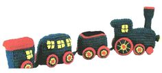 Vintage Train Crochet Pattern for Engine Passenger Car and
