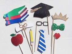 Graduation Party Photo Booth Props; Glitter College Grad Photobooth Props  by LetsGetDecorative