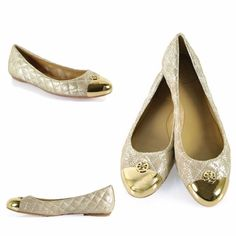 HP NEW Tory Burch quilted Kaitlin flats Brand new with tags authentic Tory Burch quilted Kaitlin flats. Harder to find in this color. Gold metal cap toe. Metallic quilted fabric. Cushioned footbed. Super comfortable. Tory Burch logo on the toe. Super versatile, can be dressed up or down, and can be worn all year around. Price is FIRM since this is a great deal and they are brand new and sold out. True to size. Tory Burch Shoes Flats & Loafers