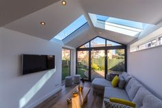 This beautiful house extension features the Ultraroof replacement conservatory roof with full length glass panels. This beautiful house extension features the Ultraroof replacement conservatory roof with full length glass panels. Replacement Conservatory Roof, Tiled Conservatory Roof, Modern Conservatory, Conservatory Extension, Conservatory Interiors, Glass Roof Extension, House Extension Plans, House Extension Design, Garage Extension