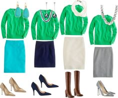 """J. Crew Kelly Green Jackie Sweater 4 ways"" by miigwan ❤ liked on Polyvore"