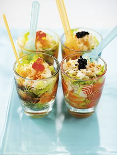 crab cocktails: Classic prawn cocktail is always popular but white crabmeat, served in shot glasses, is a modern alternative that will look stunning served as a canapé or a starter