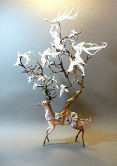 Deer with white birds, Creatures From El (Etsy).