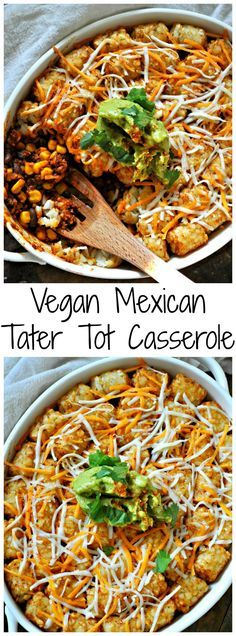 This vegan Mexican tater tot casserole is so quick and easy, healthy and delicious. Tater tot and vegan cheese baked on top of a Mexican filling! vegan dinner Vegan Mexican Tater Tot Casserole - Rabbit and Wolves Vegan Dinner Recipes, Mexican Food Recipes, Whole Food Recipes, Vegetarian Recipes, Cooking Recipes, Healthy Recipes, Healthy Food, Keto Dinner, Mexican Vegan Food