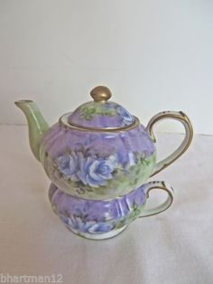 New Fine Porcelain Purple Green White Floral Mini Tea for One Hand Painted  #PorcelainTreasures