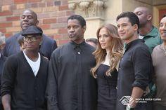 Boys & Girls Clubs of America spokesman, Denzel Washington and fellow alumni on the set of the 2011 PSA for BGCA. (Pictured Jennifer Lopez, Mario Lopez, Ne-Yo)