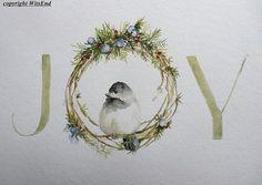 Winter Joy painting original watercolor art Christmas Winter, by 4WitsEnd via Etsy