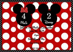Mickey and Minnie Mouse Party Invitations for Joint party