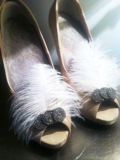 Authentic Antique Deco Era Steel Cut Beaded and Feather Shoe Clips-1920s Wedding The Great Gatsby Art Deco. $68.00, via Etsy.