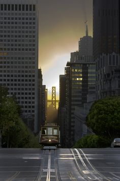 early morning view of California Street in downtown San Francisco from Nob Hill