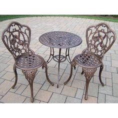 Oakland Living Hummingbird Cast Aluminum 3-Piece Bistro Set, Antique Bronze. Rust Free Cast Aluminum Construction. Hardened Powder Coat Finish in Antique Bronze for Years of Beauty. Easy to Follow Assembly Instructions and Product Care Information. Stainless Steel, galvanized or Brass Assembly Hardware. Fade, Chip and Crack Resistant.