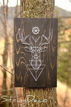 Spirit of the forest string art. Represents the deer - symbol of power and wisdom. Beautiful! #stringart #ad #wallart #homedecor #walldecor #giftideas #deer #wisdom