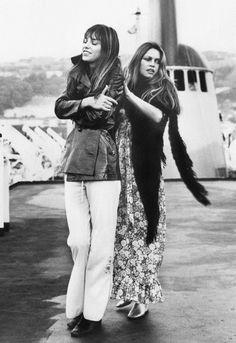 "1972: Brigitte Bardot and Jane Birkin on the set of ""If Don Juan Was A Woman"""