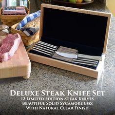 Liberty Tabletop Deluxe 12pc Steak Knife Set with Sycamore Box #madeinUSA #AmericanMade #wedding #gifts #tableware