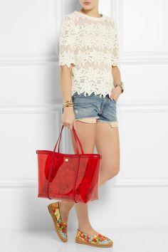 Dolce & GabbanaShoes + Escape leather-trimmed PVC tote| rag & bone shorts| Chloe Top