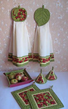 """Уютный домик: Кухонный набор """"Наливное яблочко"""""""