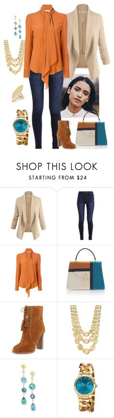 """""""Orange/Blue/Tan"""" by manda3482 ❤ liked on Polyvore featuring Abercrombie & Fitch, Valextra, Michael Kors, Marco Bicego, BillyTheTree, Akribos XXIV and Calder"""