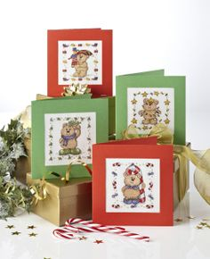 Jenny Barton designed these teddy bear Christmas cards for our November 228 issue - how cute! http://www.myfavouritemagazines.co.uk/stitch-craft/cross-stitch-collection-magazine-back-issues/cross-stitch-collection-november-13/