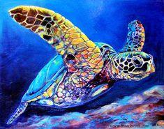 "Sea Turtle Canvas, Turtle Canvas, Sea Turtle Wall Art, Turtle Wall Art, ""Milton Turtle"" by Jen Callahan Milton Turtle-Giclee by Jen Callahan Canvas Wrap by jenartwork Sea Turtle Painting, Sea Turtle Art, Water Color Turtle, Turtle Homes, Desenho Tattoo, Art Mural, Tile Art, Sea Creatures, Cute Animals"