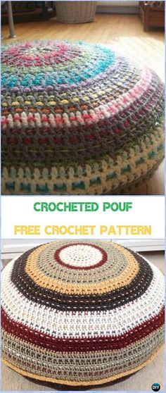 Crocheted Pouf Free Pattern - #Crochet; Crochet Poufs & Ottoman Free Patterns