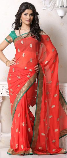 Light #Red Faux #Chiffon #Saree With Blouse @ $67.69