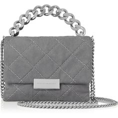 Stella McCartney Soft Beckett small quilted faux suede shoulder bag (1,505 CAD) ❤ liked on Polyvore featuring bags, handbags, shoulder bags, dark gray, stella mccartney, clasp purse, quilted purse, stella mccartney handbags and quilted handbags
