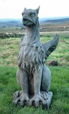 Winged stone Griffin for the garden, looks fabulous as a gargoyle type ornament Dragons, Gothic Gargoyles, Magic Garden, Green Man, Magical Creatures, Garden Statues, Beast, Lion Sculpture, Wings