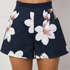 Fashion Summer Women Sexy Shorts High Waist Zipper Floral Printing Ladies Girls Casual Wide Leg Short Pants JL - New Site Shorts Sexy, Mini Shorts, Casual Shorts, Short Shorts, Summer Shorts, Women's Shorts, Hot Pants, Women's Pants, Short Elegantes