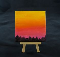 Mini Canvas Art, Nature Painting, Sky Painting, Tree Silhouette Art, Tiny Canvas Painting, Orange Sunrise, 4x4 Canvas by ShorelyDifferent on Etsy