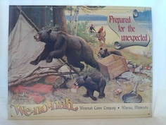 """Phillip R. Goodwin, illustrator and painter of wildlife, outdoor life, and nature. Love his bear ads for Wenonah canoes, from the 20's and 30's. Just bought these two """"vintaged"""" metal signs, perfect for bear themed camper!"""