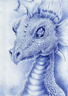 A dragon done with blue bic pen. Based in this sculpture: [link] Dragon with bic pen Biro Art, Ballpoint Pen Art, Magical Creatures, Fantasy Creatures, Dragon Medieval, Dragon Bleu, Dragons, Bic Pens, Dragon Artwork