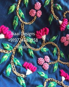 No automatic alt text available. Embroidery On Kurtis, Kurti Embroidery Design, Embroidery Neck Designs, Hand Embroidery Videos, Embroidery Stitches Tutorial, Hand Work Embroidery, Embroidery On Clothes, Embroidery Flowers Pattern, Couture Embroidery