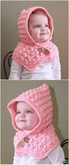 Crochet Textured Toddler Hood Free Pattern - Crochet Hoodie Scarf Free Patterns
