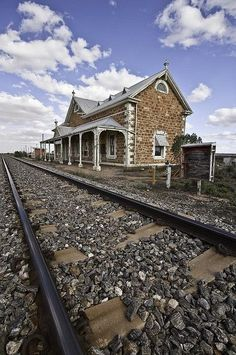 Mannahill railway station on the Broken Hill line. Once a bustling stop in steam era, now a silent relic as the Indian Pacific and fast freight roar past