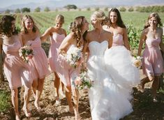♡ Pink, rustic, #country #wedding Bridesmaids ... For wedding ideas, plus how to organise an entire wedding, within any budget ... https://itunes.apple.com/us/app/the-gold-wedding-planner/id498112599?ls=1=8 ♥ THE GOLD WEDDING PLANNER iPhone App ♥  For more wedding inspiration http://pinterest.com/groomsandbrides/boards/ photo pinned with love & light, to help you plan your wedding easily ♡
