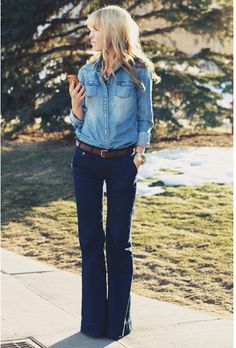 bell bottoms & chambray.  will wear this next week.
